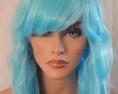 SPRING SALE - Aqua Blue Long Wavy Wig - Long Wavy Mermaid Style Wig - 28 Inches - Emo - Rockabilly - Durable