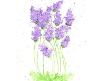 watercolor painting, watercolor flowers, flower print, lavender, flower painting, purple, flower art, herb painting, 8X10 print