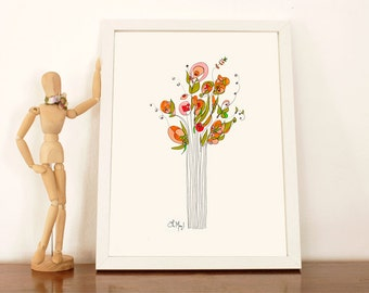 Modern and Delicate Flowers Illustration Print (A4 size)