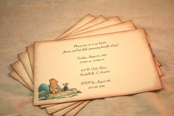 winnie the pooh and piglet set of 12 vintage baby shower invites