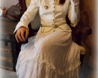 4 pc Small White Steampunk Victorian Outfit