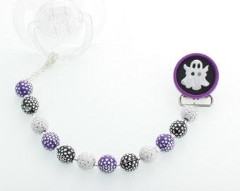 Halloween Purple & Black Ghost Beaded Pacifier Clip