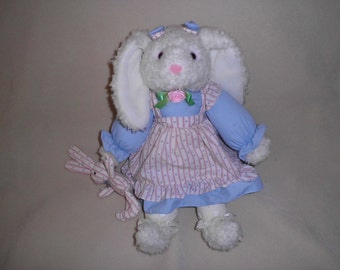 Vintage Fabric Rabbit Stuffed Animal Easter Bunny Toy Decoration Vintage with Tag