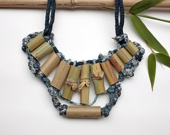 Statement bib eco friendly necklace, knitted, with bamboo beads, blue, OOAK