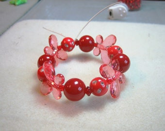 Red Butterfly Bracelet: Little Girl's Beaded Stretch