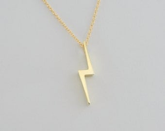 Small Lightning Bolt Pendant Solid 14K Gold 1/2 inch