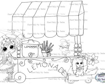 INSTANT DOWNLOAD Digi Stamps Big Eye Big Head Dolls Digi Bestie Lemon-Aid Stand By Sherri Baldy