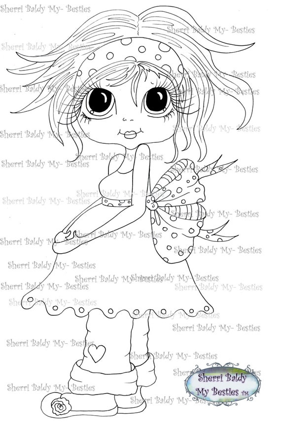 INSTANT DOWNLOAD Digital Digi Stamps Big Eyed  My Bestie Digi Stamp Besties Big Head Dolls Digi IMG898 By Sherri Baldy