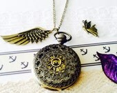 Antique Bronze Pocket Watch necklace with Wing Charm- Gift for him -Groomsmen gift VSQ005