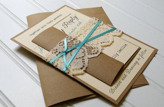 Handmade Rustic Wedding Invitations: Tiffany Blue Ribbon And Lace Wedding Invitations By