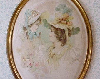 Lovely Art Nouveau Era Oval Frame with Print of Ladies in Bonnets-Pastels