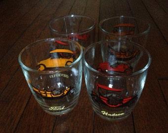 Set of 4 Vintage Car Glasses