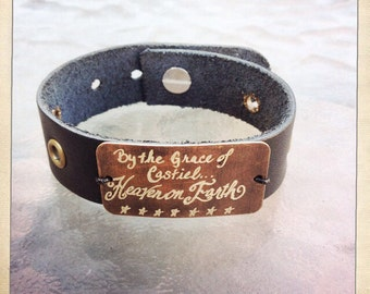Supernatural show inspired leather cuff