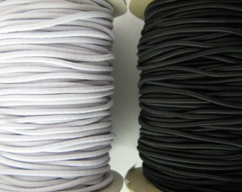 "2mm Round Elastic in Black or White (1 / 12"")"