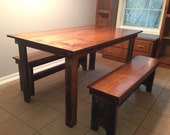 Rustic farmhouse dinner table with two benches