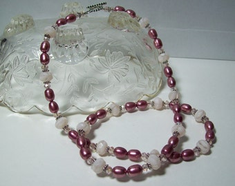 Pink Necklace. Czech Glass and Freshwater Pearls. Pearl Necklace.