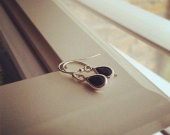 Drop Earrings, Sterling Silver Black Onyx Drop Earrings, Tiny Black Onyx Earrings, All Sterling Silver - Everyday Jewelry, Dangle Earrings