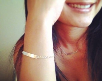 Bar Bracelet, Custom Bracelet, Engraved  Bracelet, Personalized ID Bracelet, Sterling Silver Personalized ID Bracelet, Any time Jewelry