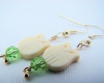 Earrings,White Owls