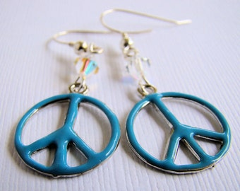 Earrings, Dangle, Peace Sign, Crystals, For Her, Boho, Hippie, Turquiose Blue