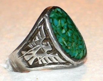 PAWN NAVAJO THUNDERBIRD Ring Turquoise Sterling c1950