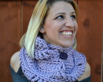 The Northerner crochet infinity scarf, winter cowl, crochet button cowl in lavender