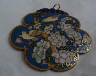 Vintage Nature-Themed Cloisonne Pendant