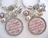 MOTHER of the BRIDE Gift Mother of the GROOM Champagne Taupe I promise to Love for my Whole Life Wedding Necklace Keychain Mother in law