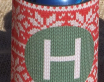 Personalized Beverage Insulator Vintage Christmas Sweater