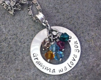 Personalized Hand Stamped Necklace for Grandma (or Nana) with Birthstones