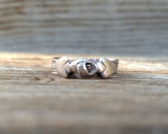 Game of Hearts - Vintage Fede Gimmel Ring Sterling Silver Puzzle Band
