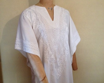 Hippie India White Embroided Blouse wide bell sleeves