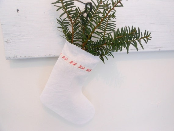 Small white stocking, nordic mini stocking,  french stocking