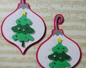 2 Christmas Tree Ornament Scrapbook Embellishments, Christmas tags, Christmas card candy, Christmas decortions