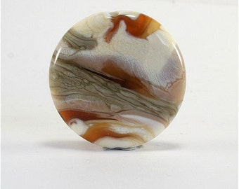 Lampwork Bead Handmade Lentil Shaped Lampwork Focal Ivory Brown Topaz Gray SRA DUST Team LE Team AWHIMteam