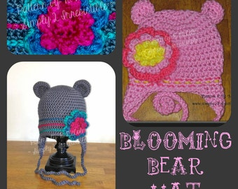Blooming Bear Beanie and Earflap Hat - Crochet Pattern 16 - Large Flower - Newborn to Adult Sizes - INSTANT Download - US and UK Terms