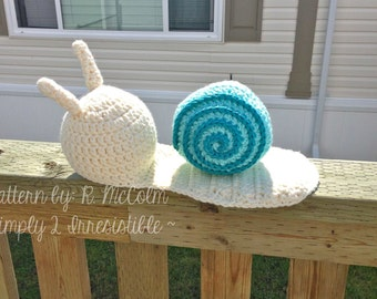 Shelly the Snail Newborn Baby Photography Prop Set - Crochet Pattern 114 - Newborn to 12 Months Sizes - INSTANT Download, US and UK Terms