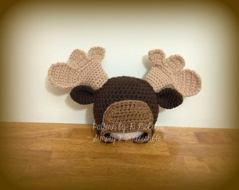 Moose Hat Pattern - Crochet Pattern 27 - Beanie and Earflap Pattern - Newborn to Adult - INSTANT DOWNLOAD