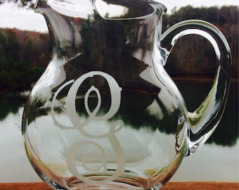 Personalized Hand Etched Glass Pitcher