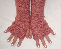 Lace FingerlessGloves Knit Pink.Woodrose.Arm/Wrist  Warmers.Long,Texting. Fall/WinterNew.Women.Girls.Gift.