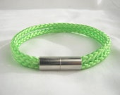 Unisex Double Lime Green Paracord Bracelet with Magnetic Clasp