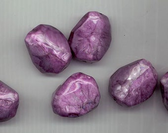 Six very cool purple agate-like nuggets - synthetic with clear resin finish - about 30 x 30 mm - set B