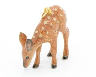 1 - Porcelain Deer Pendant Animal Hand Painted Glaze Ceramic Animal Ceramic Deer Fawn Vintage Jewelry Supplies Little Critterz (CA085)