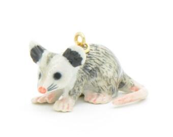 1 - Porcelain Possum Pendant Hand Painted Glaze Ceramic Animal Small Possum Bead Vintage Jewelry Supplies Little Critterz Porcelain (CA025)