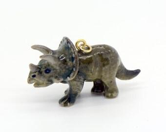 1 - Porcelain Triceratops Pendant Hand Painted Glaze Ceramic Animal Small Ceramic Dinosaur Bead Jewelry Supplies Little Critterz (CA081)