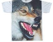 Wolf Face Portrait Wildlife Rock T-shirt Art Design Men Women Unisex Sz M