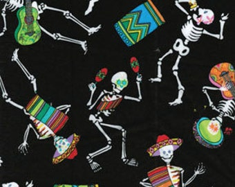 Benartex Fabric - Los Mariachis - Dancing Skeletons - Black- Chose Your Cut 1/2 or Full Yard