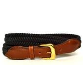 Vintage Black Woven Belt M L Vtg Brown Leather Braided Belt Medium Large