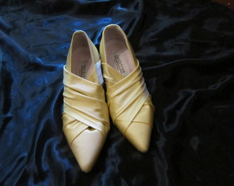 Yellow Silky Leather Nordstrom Evening Pumps