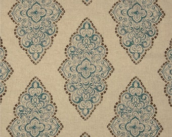 Blue, Brown and Oatmeal Damask Pillow Covers in Monroe Cadet Fabric